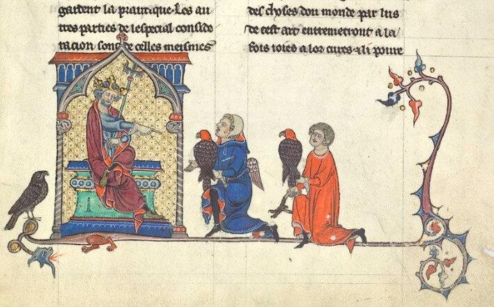 sketch from the 1240s, De Arte Venandi cum Avibus